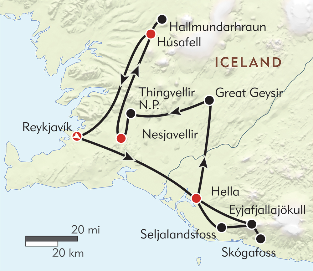 Winter Adventures in Iceland route-map
