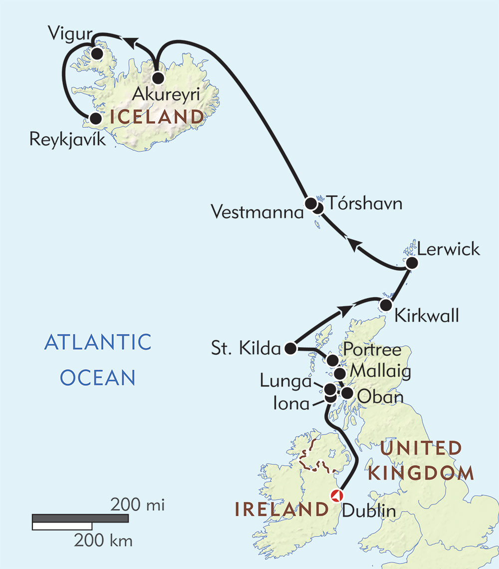 Dublin to Reykjavik route-map