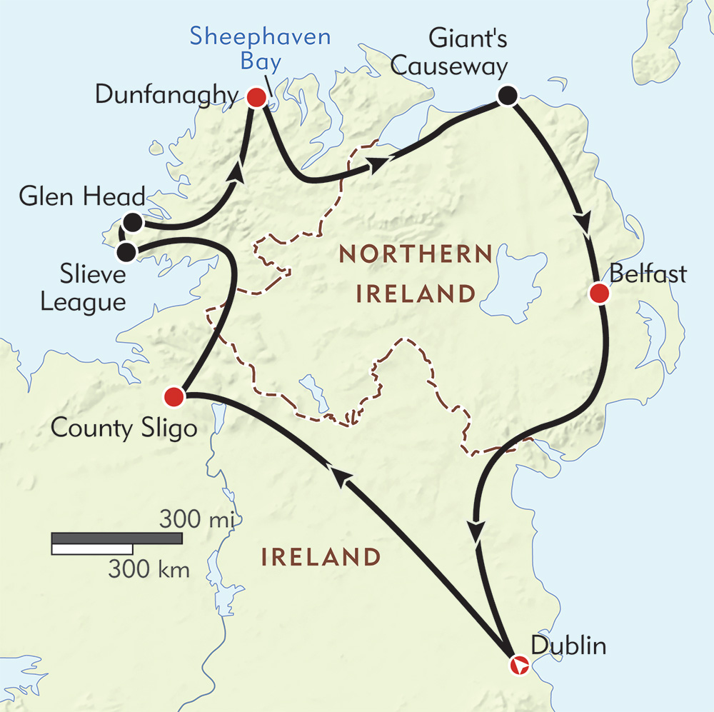 A Northern Arc Across Ireland route-map
