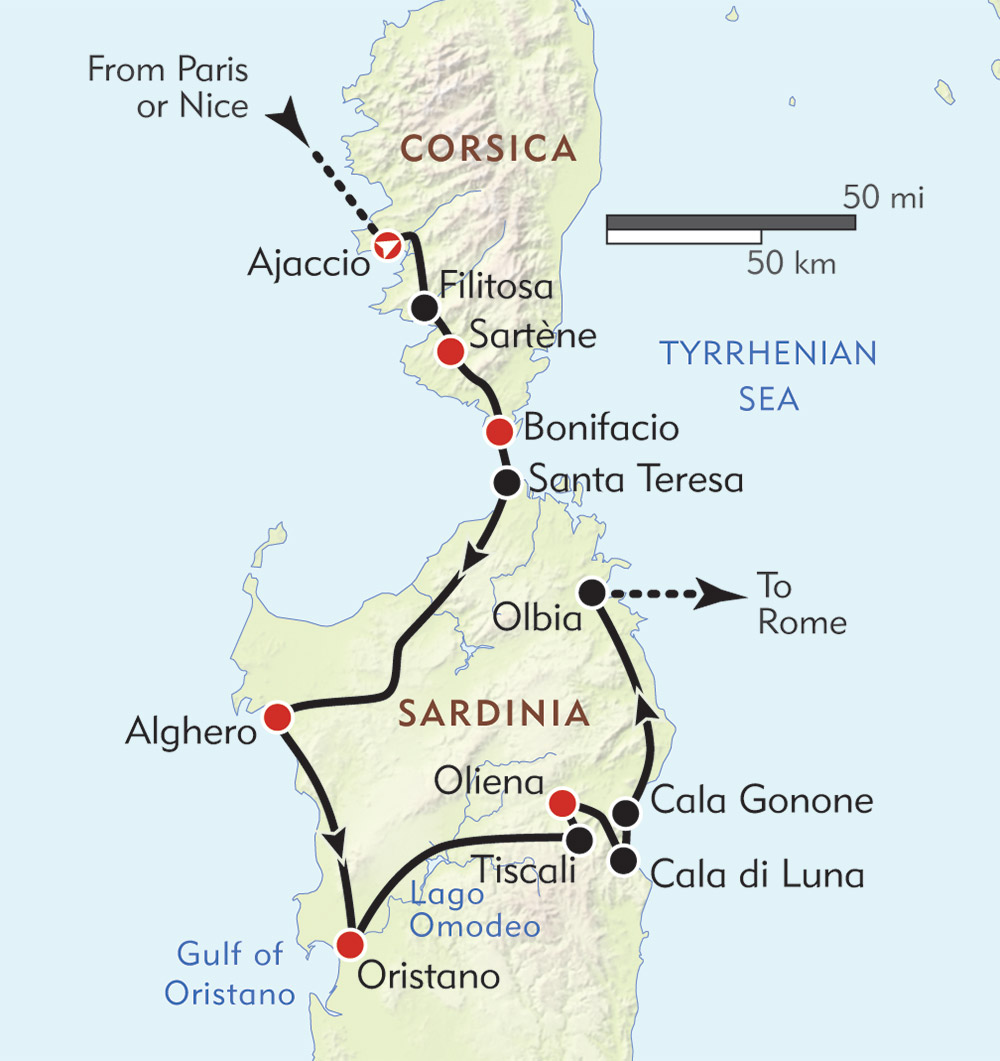 Corsica and Sardinia route-map