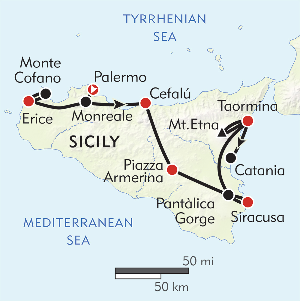 Sicily On Map Of Italy.Hiking In Sicily Wilderness Travel