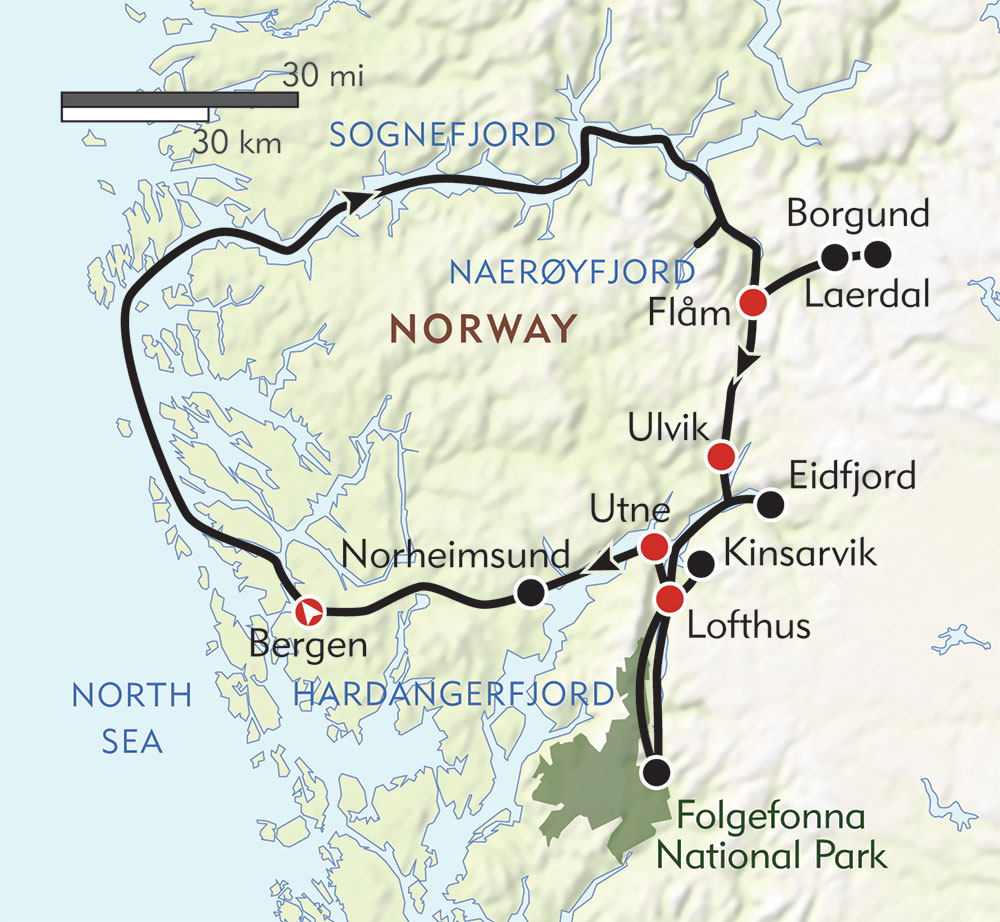 Norway's Fjord Country route-map