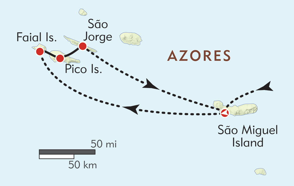 Hiking in the Azores route-map