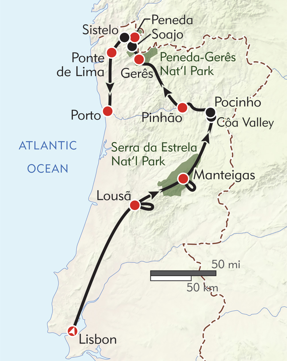 Hiker's Journey to Portugal route-map