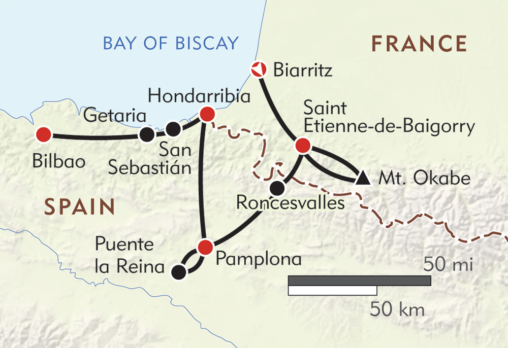 Map Of France Spain.From France To Spain Hiking In The Basque Country Wilderness Travel