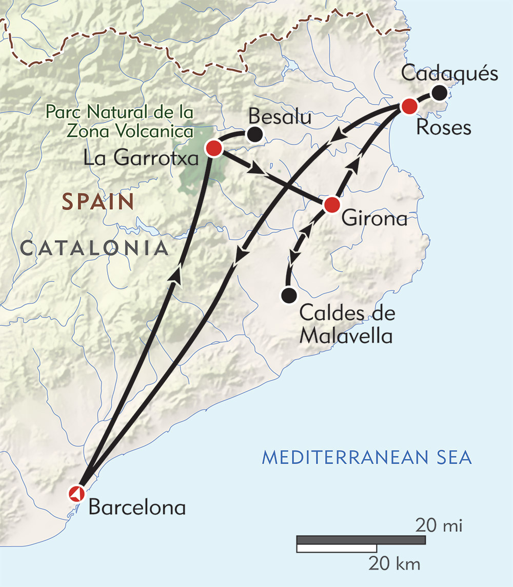 Spain: Catalonia Private Journey route-map