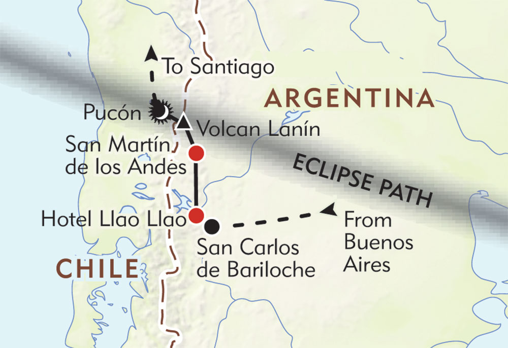 Total Solar Eclipse of 2020: Lakes to Volcanoes Adventure route-map
