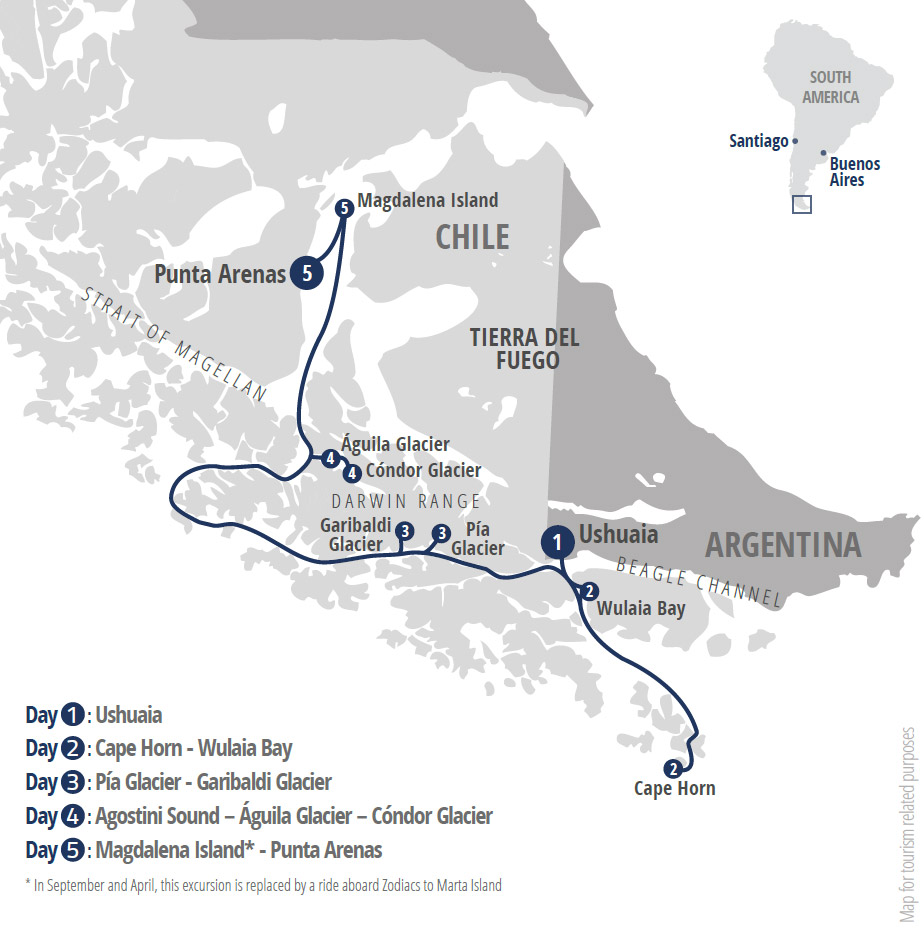 Cruise from Ushuaia: Patagonia Extension route-map