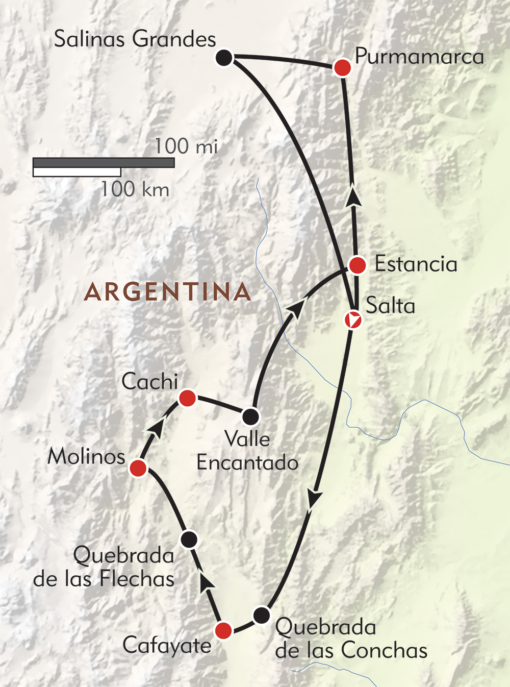 Adventures in Salta and Jujuy route-map
