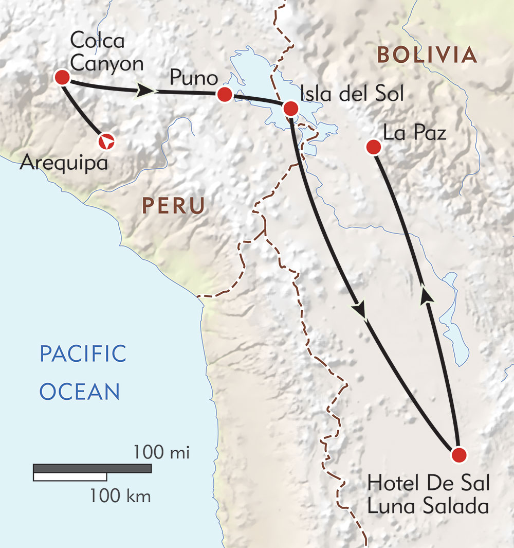 Discovering Peru and Bolivia route-map