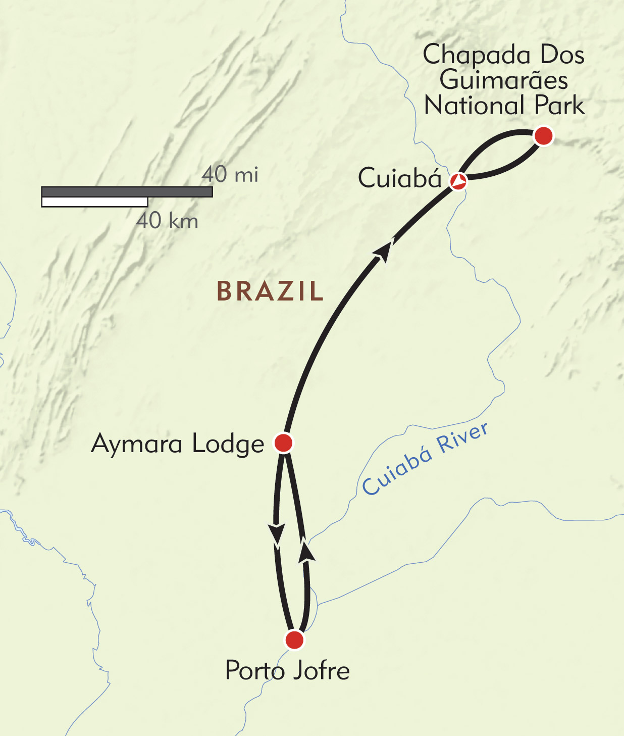 Brazil: Jaguars of the Pantanal and Hiking in the Chapada Dos Guimarães route-map