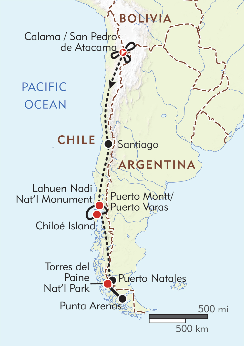 Chile from Top to Bottom! route-map