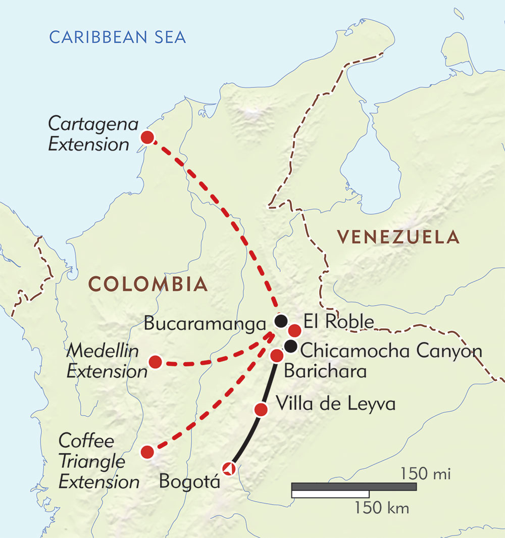 Colombia Private Journey route-map