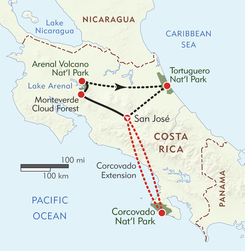 Costa Rica Wildlife route-map