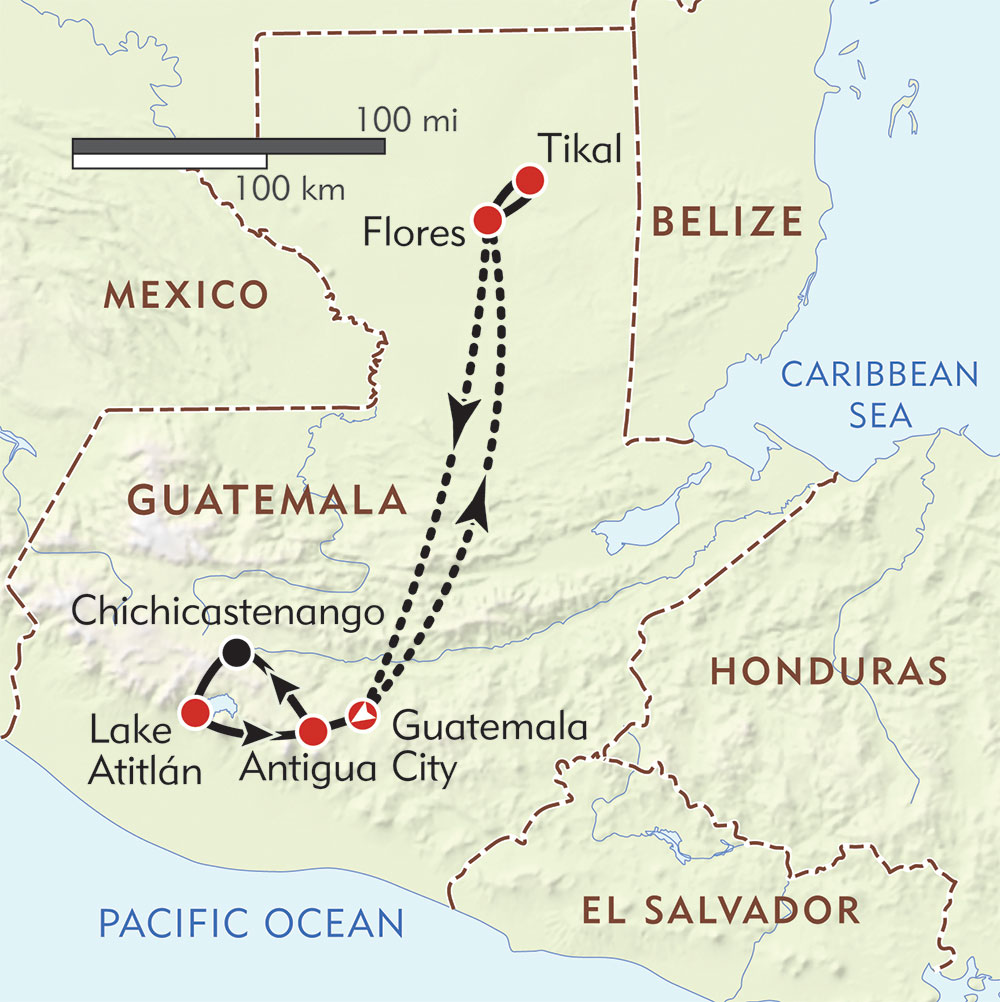 Guatemala Private Journey route-map