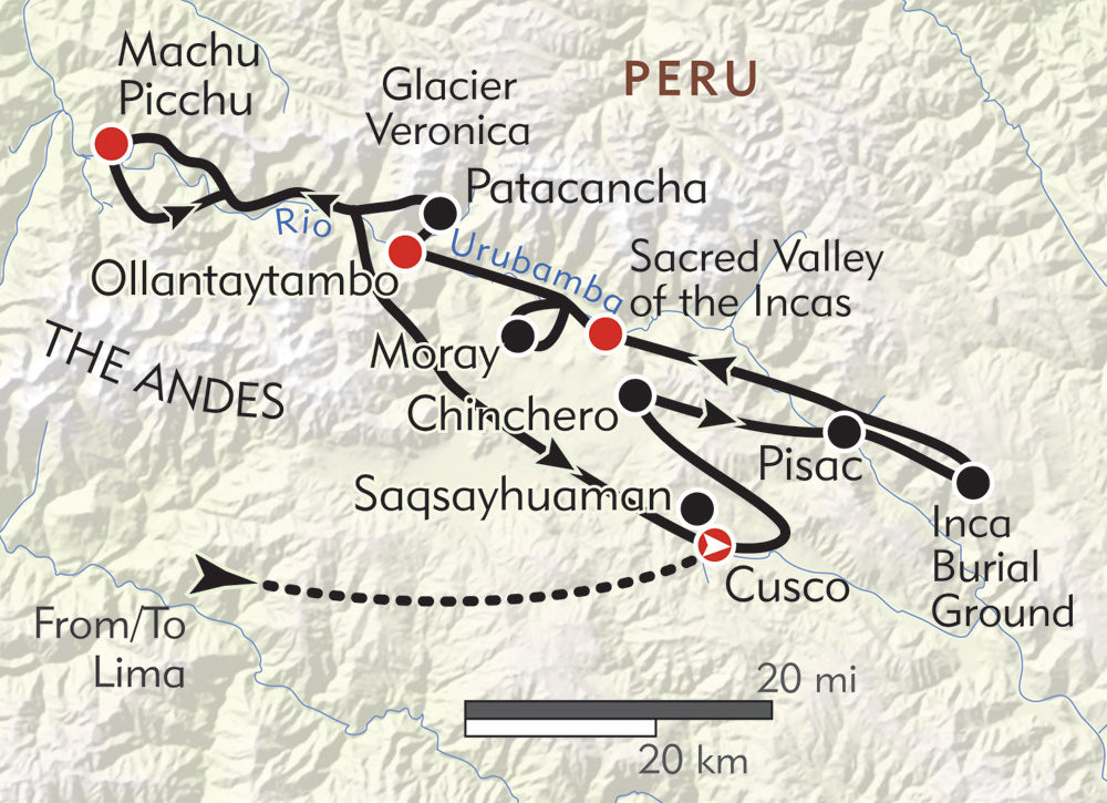 Hiker's Journey to Machu Picchu route-map
