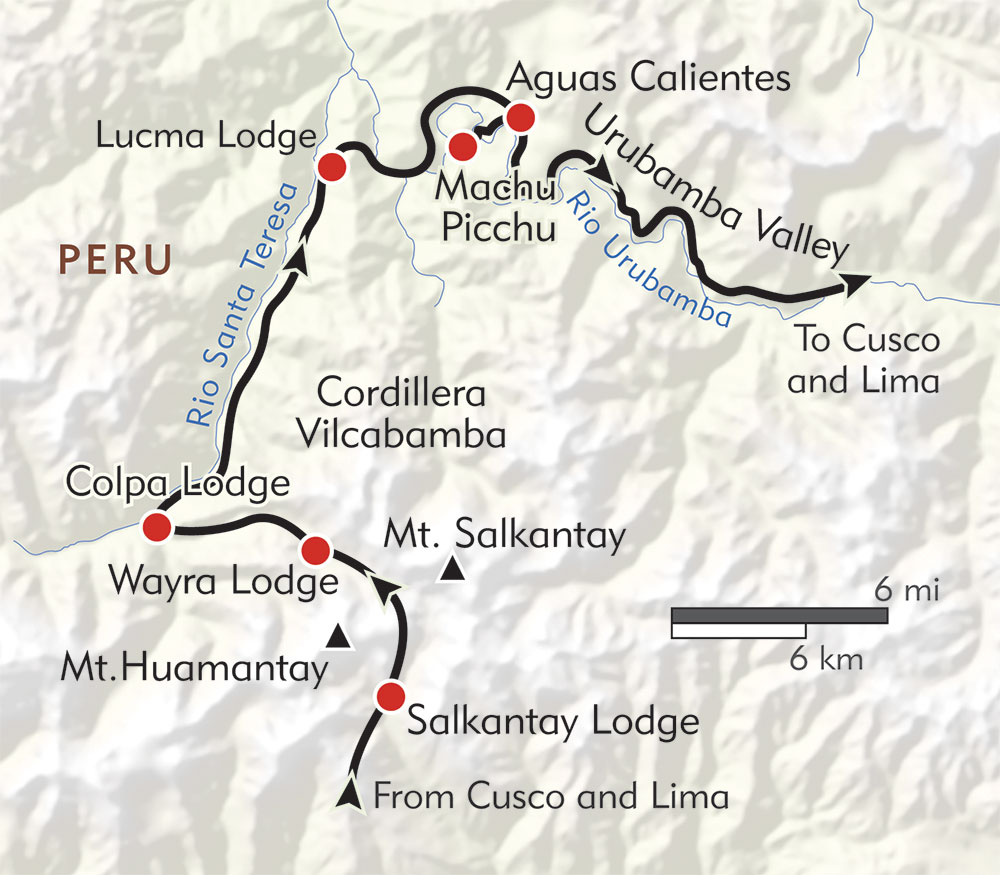 Machu Picchu Lodge to Lodge route-map