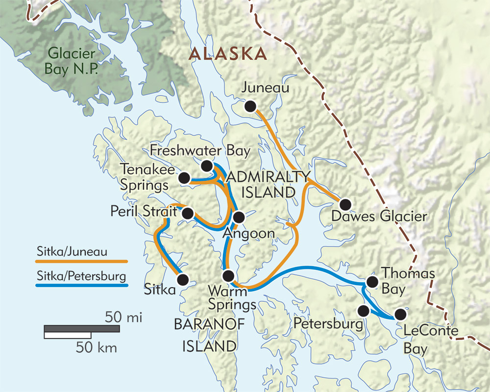 Alaska: Journey to Sitka route-map