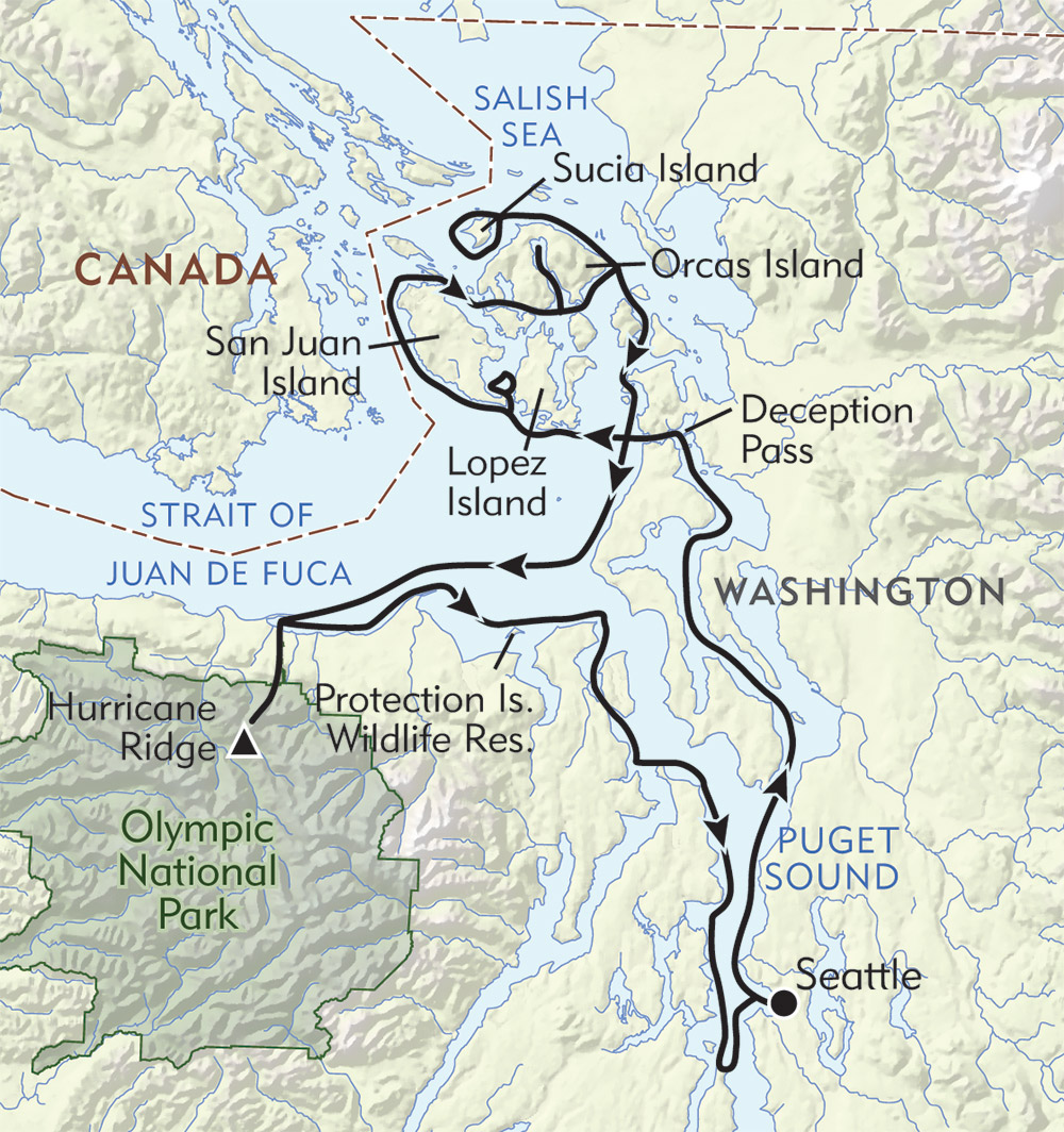Olympic Wilderness and San Juan Islands route-map