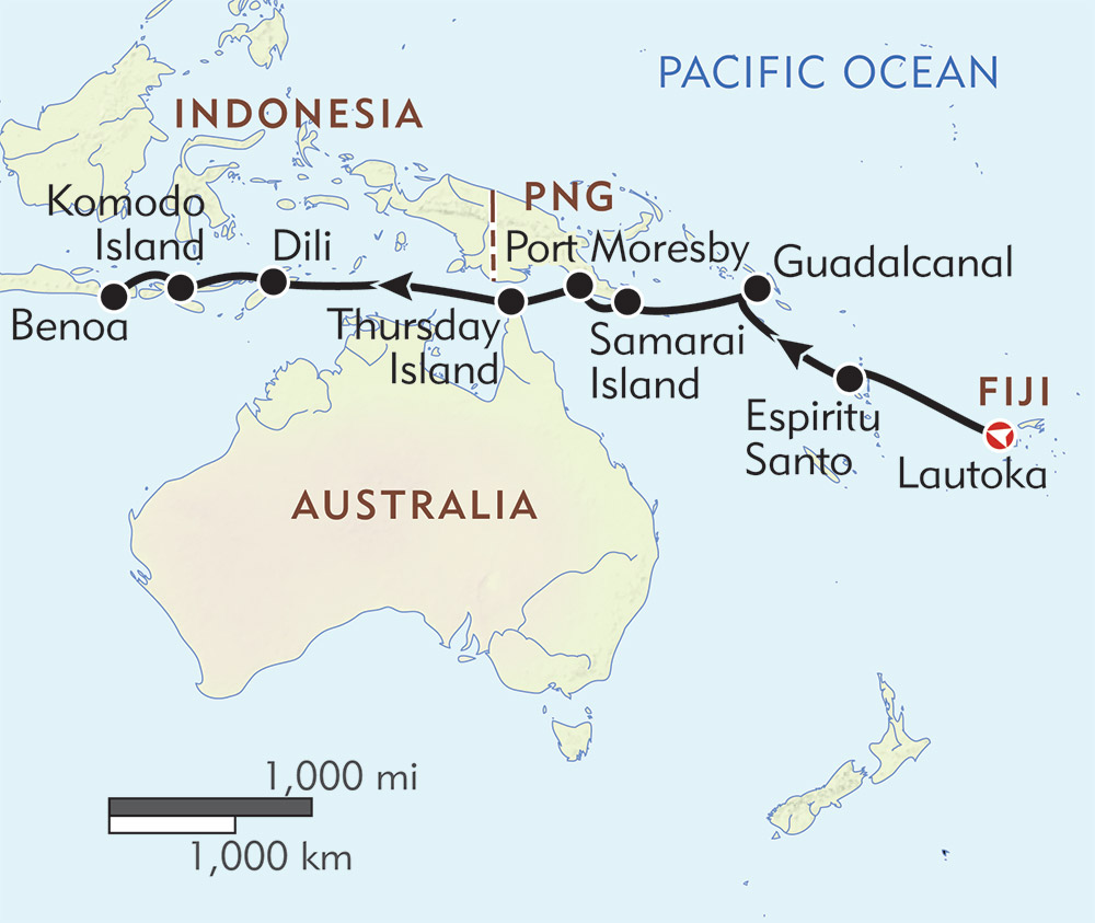 Fiji to Bali route-map
