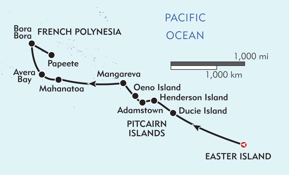 Easter Island to Papeete Expedition Cruise route-map