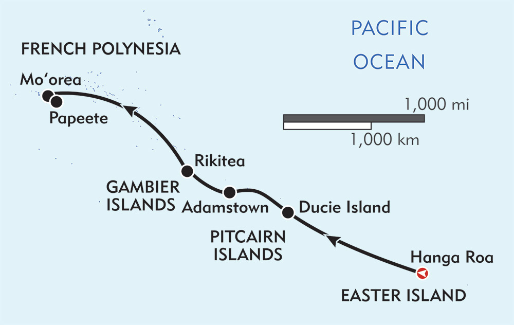 Easter Island and Polynesia route-map