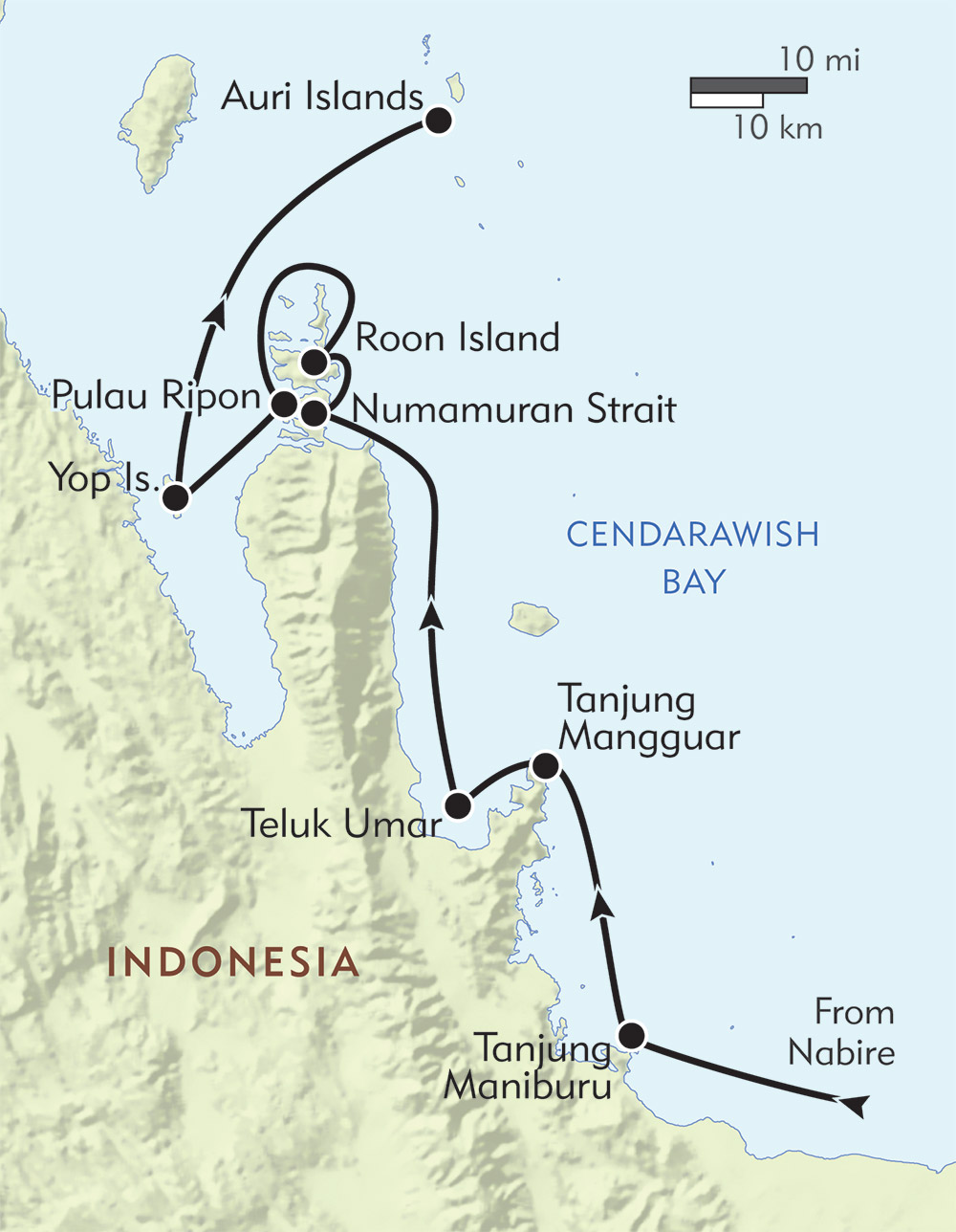 Snorkeling Expedition to Cenderawasih Bay route-map