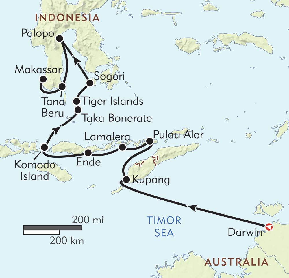 Islands of Indonesia: Australia to Sulawesi route-map