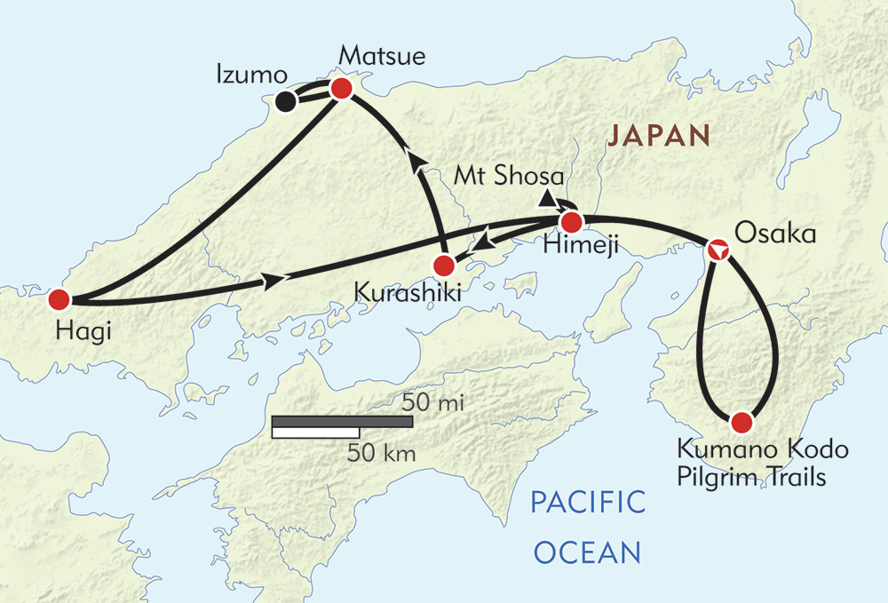 Japan: Castles, Samurai, and Legends route-map