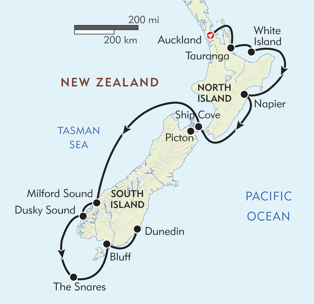 New Zealand: Auckland to Dunedin route-map