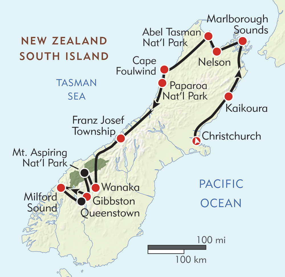 South Island Map Of New Zealand.New Zealand South Island Hiking Tour Wilderness Travel