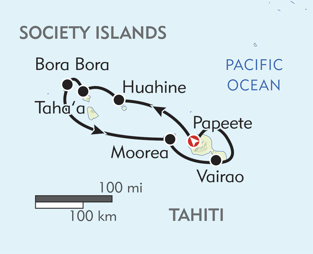 Society Islands and Tahiti Iti route-map