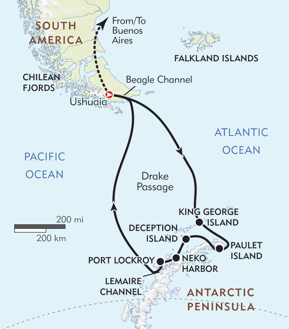 Antarctica route-map