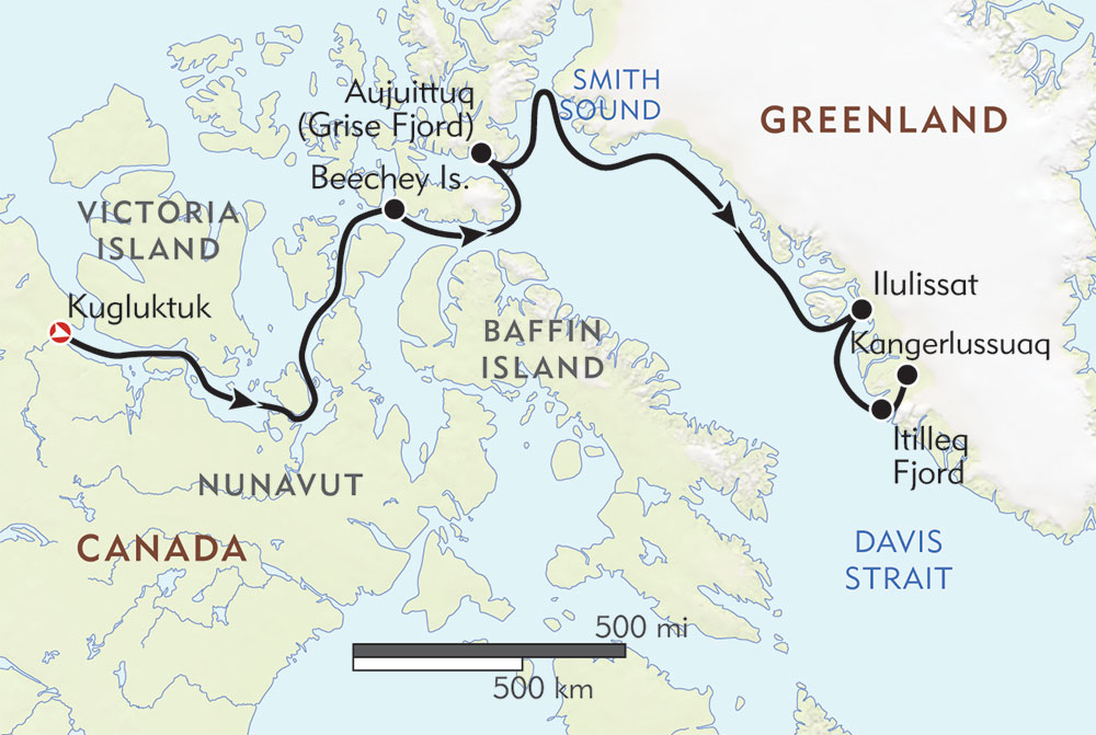 Out of the Northwest Passage route-map