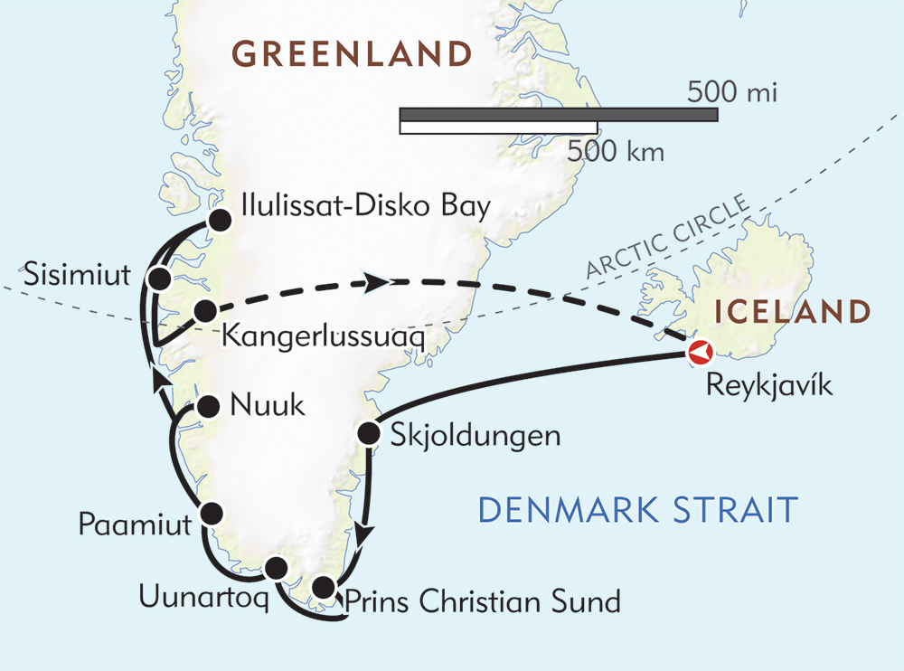 Essential Greenland: Southern Coasts and Disko Bay route-map