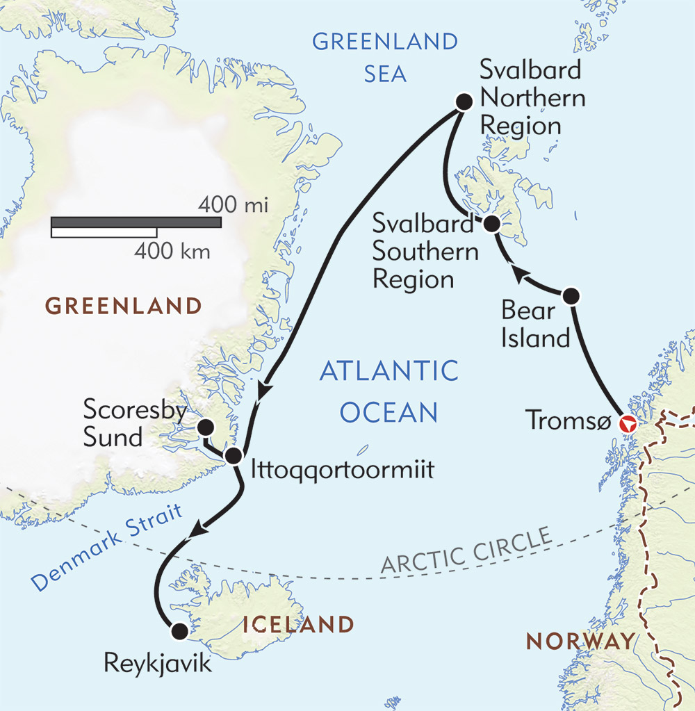 Norway to Iceland route-map