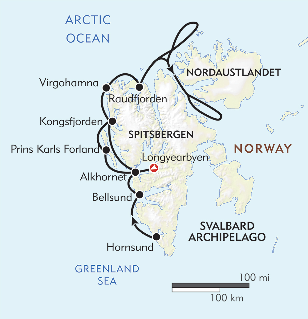 Svalbard Expedition route-map