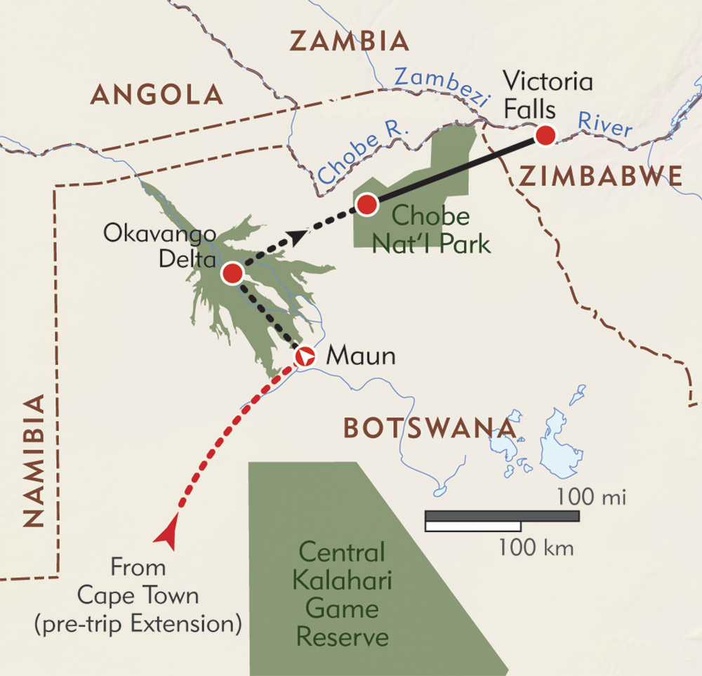 Botswana and Victoria Falls Private Journey route-map