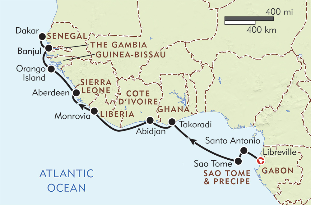 Tracing the West Coast of Africa route-map