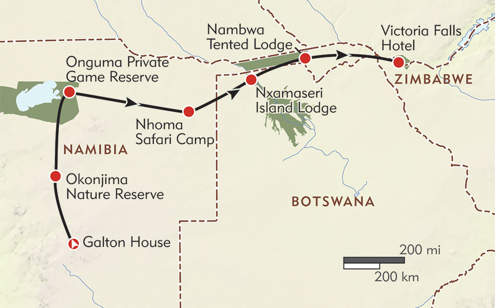 Ultimate Namibia and Botswana route-map