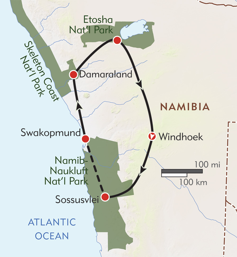 Namibia Giraffe Conservation Safari route-map