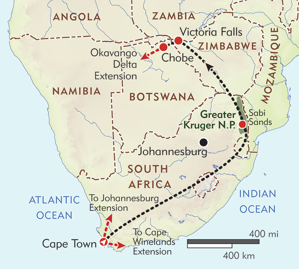 South Africa, Victoria Falls, and Botswana Private Journey route-map