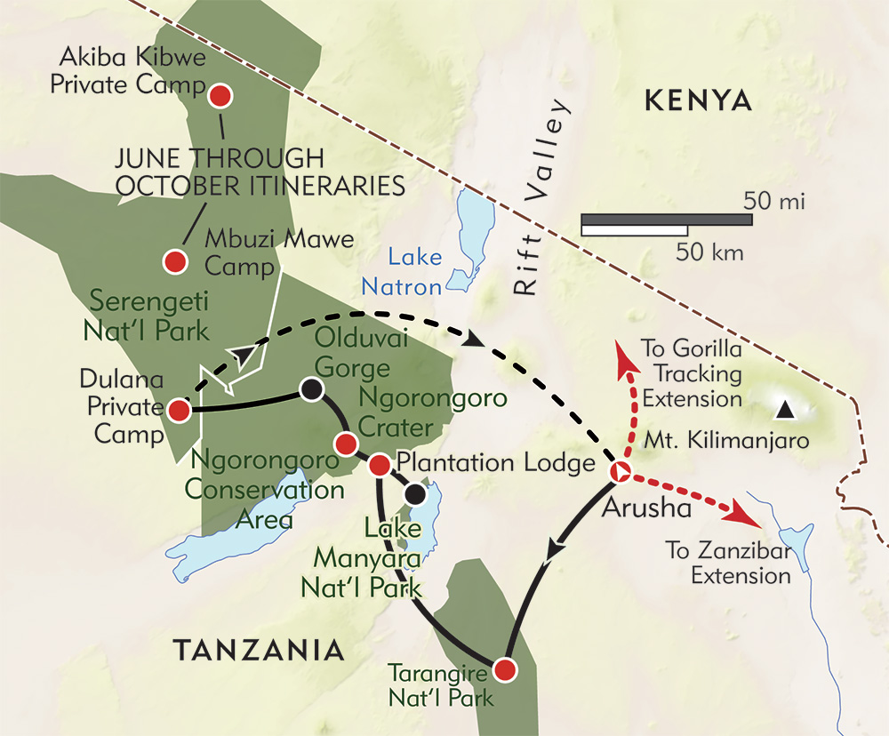 Tanzania: The Great Migration Safari route-map