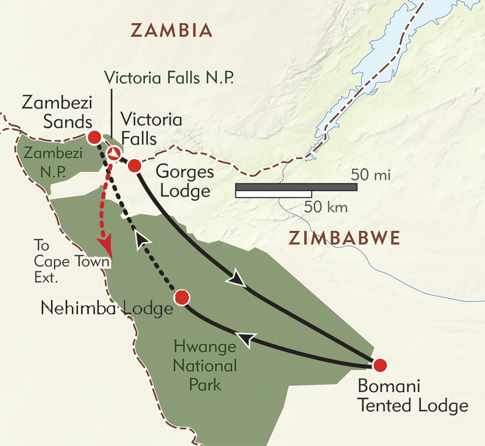 Zimbabwe: Green Season Safari route-map