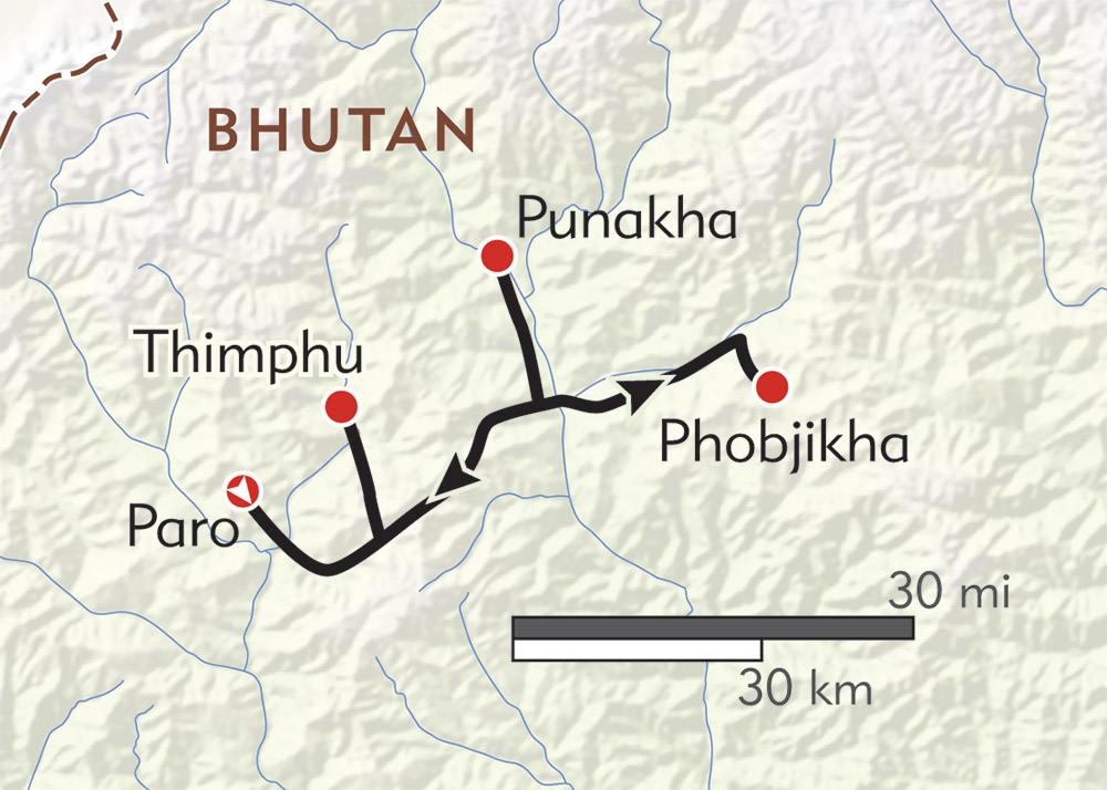 Bhutan Private Journey route-map