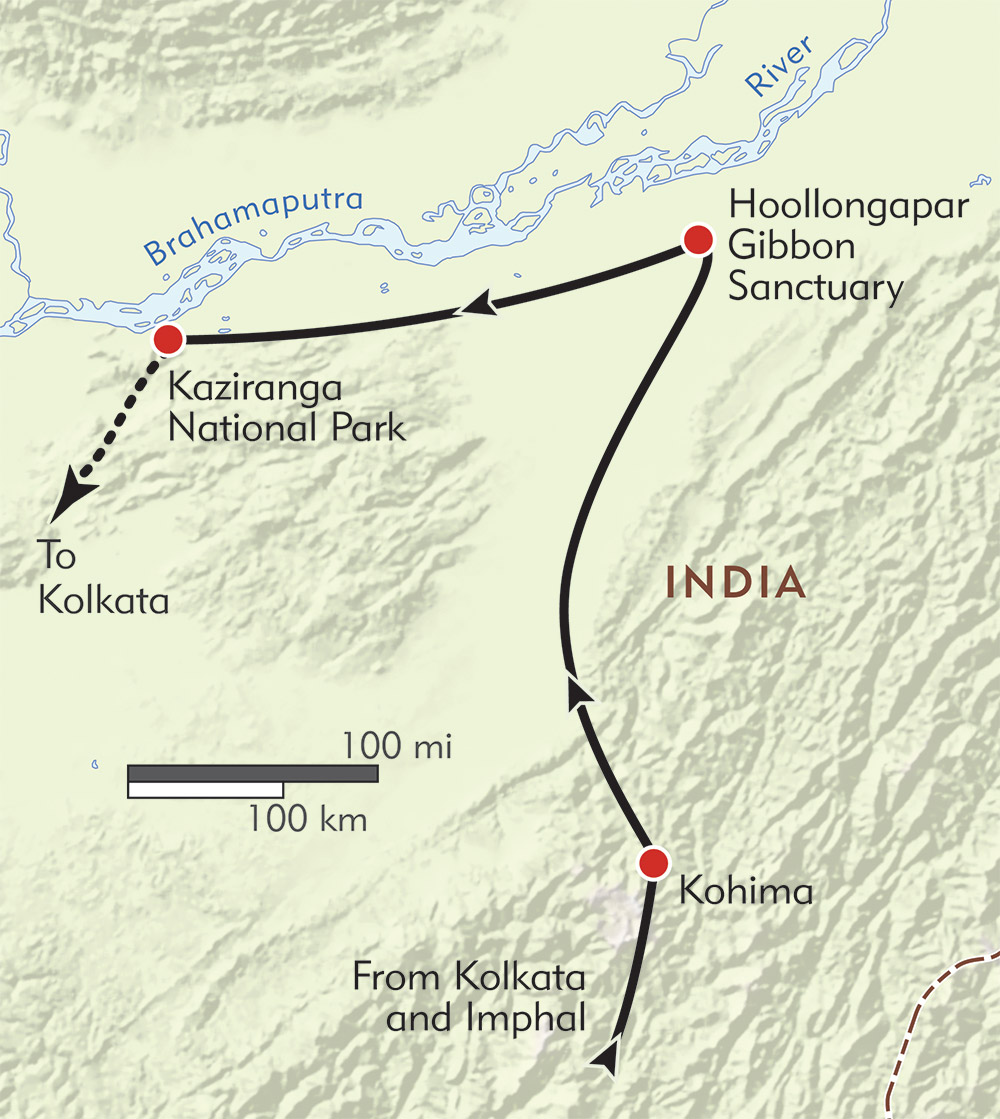 Festivals, Cultures, and Wildlife of Northeast India route-map