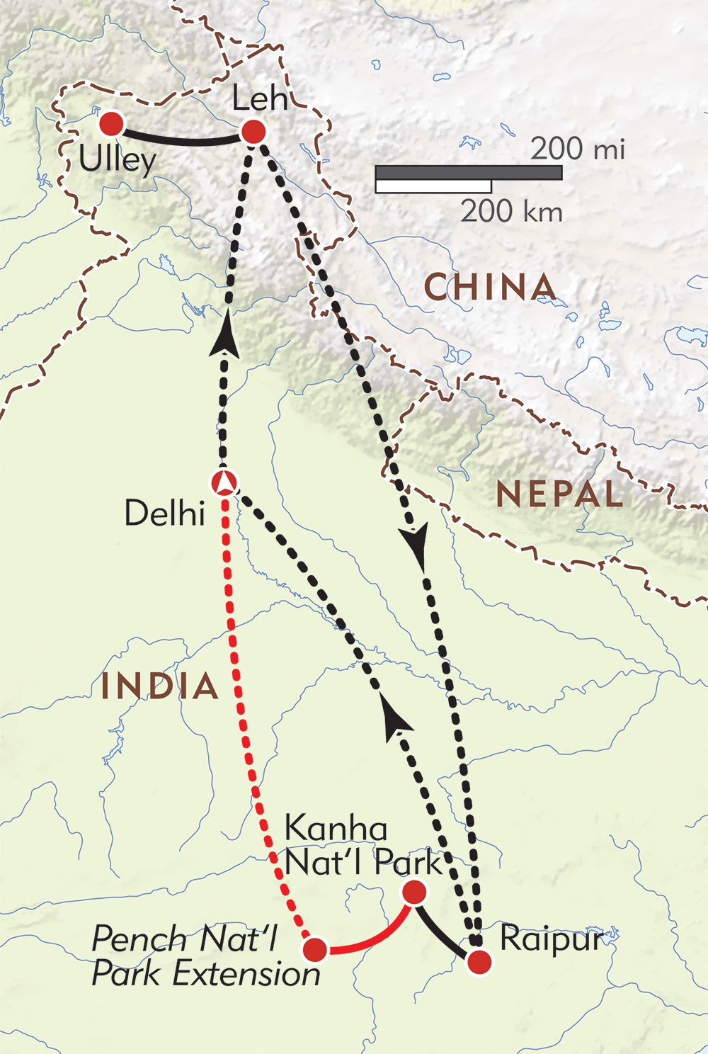 Snow Leopards and Tigers of India route-map