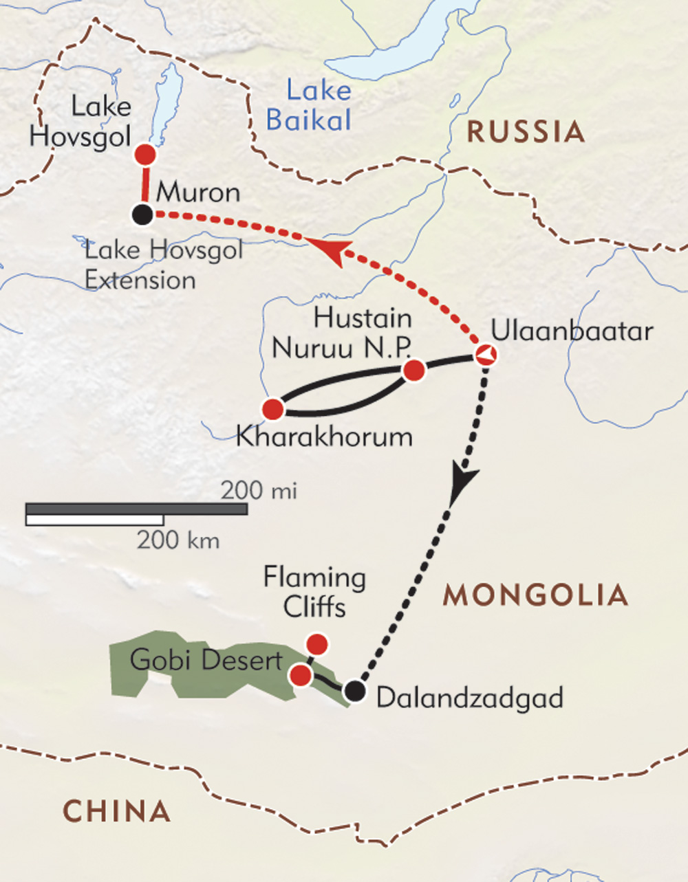 Mongolia Private Journey route-map