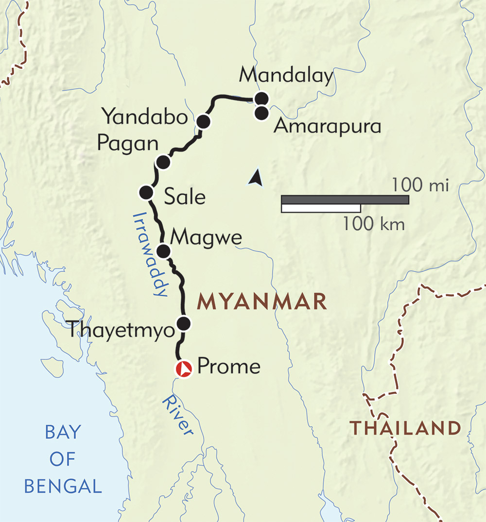 The Classic Irrawaddy River Cruise route-map