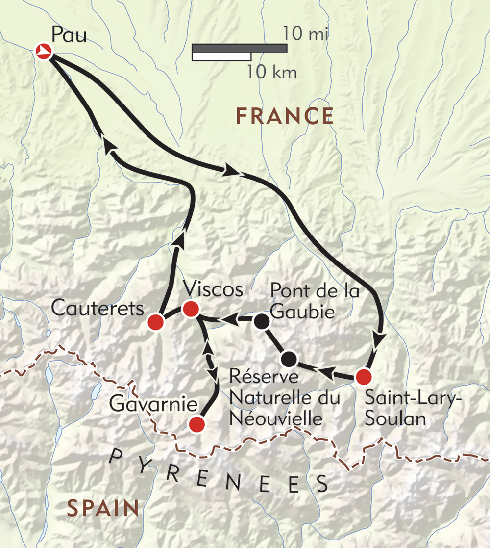 Hiking the French Pyrenees route-map
